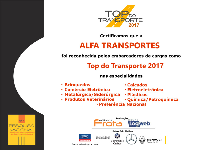 Prêmio Top do Transporte 2017 Alfa Transportes